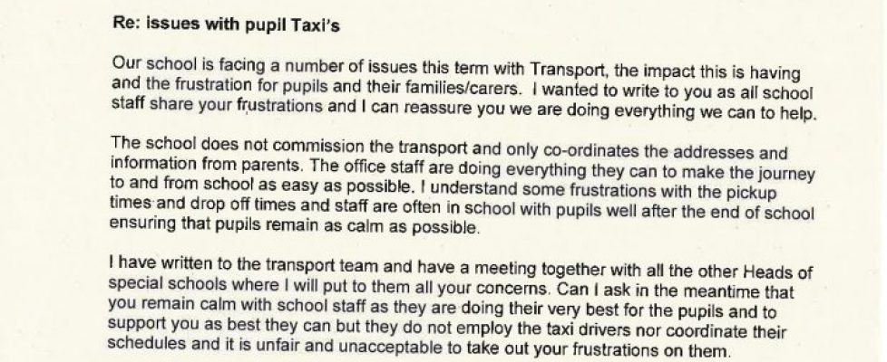 Letter to parents about Taxi